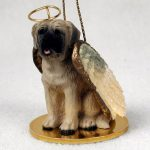 English Mastiff Guardian Angel Ornament with Halo, String, Wings, and Gold Base