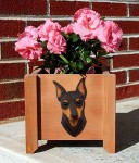 Mini Pinscher Planter Flower Pot Chocolate Tan