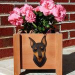 Mini Pinscher Planter Flower Pot Chocolate Tan 1