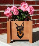 Mini Pinscher Planter Flower Pot Black Tan