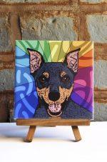 Mini Pinscher Black/Tan Colorful Portrait Original Artwork on Ceramic Tile 4x4 Inches