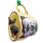 Mini Pinscher Dog Christmas Holiday Teacup Ornament Figurine Black/Tan