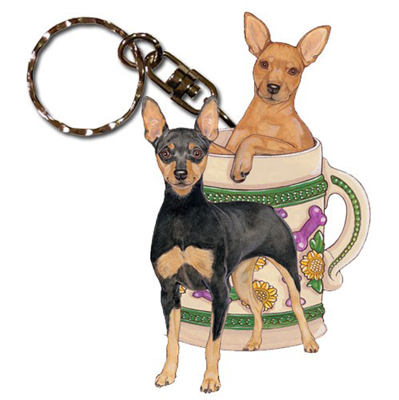 Mini Pinscher Wooden Dog Breed Keychain Key Ring