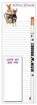 Mini Pinscher Dog Notepads To Do List Pad Pencil Gift Set