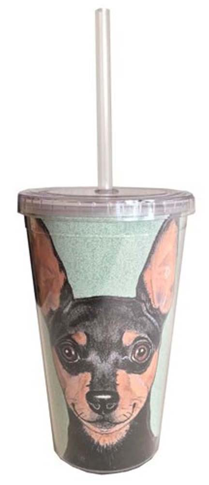 Miniature Pinscher Tumbler With Straw