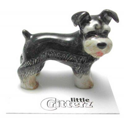 Schnauzer Hand Painted Porcelain Miniature Figurine Miniature 1