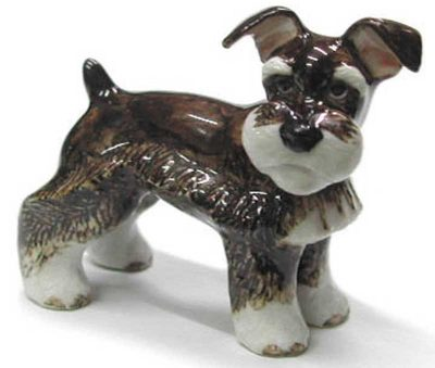 Schnauzer Hand Painted Porcelain Figurine Mini