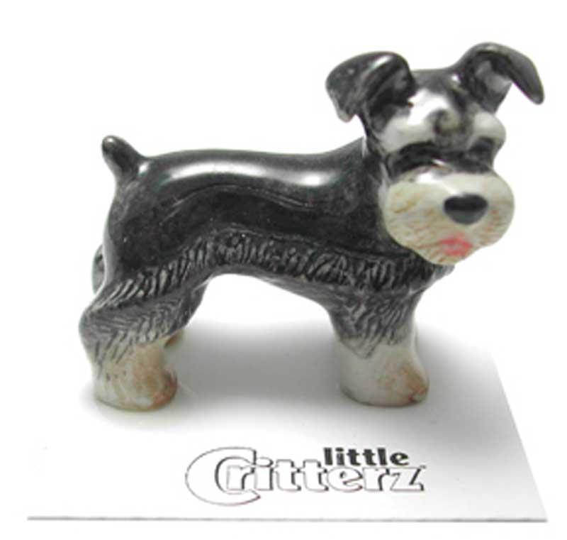 Schnauzer Hand Painted Porcelain Miniature Figurine Miniature