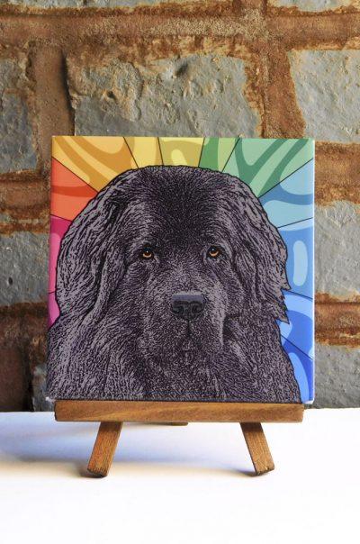 Newfoundland Black Colorful Portrait Original Artwork on Ceramic Tile 4x4 Inches