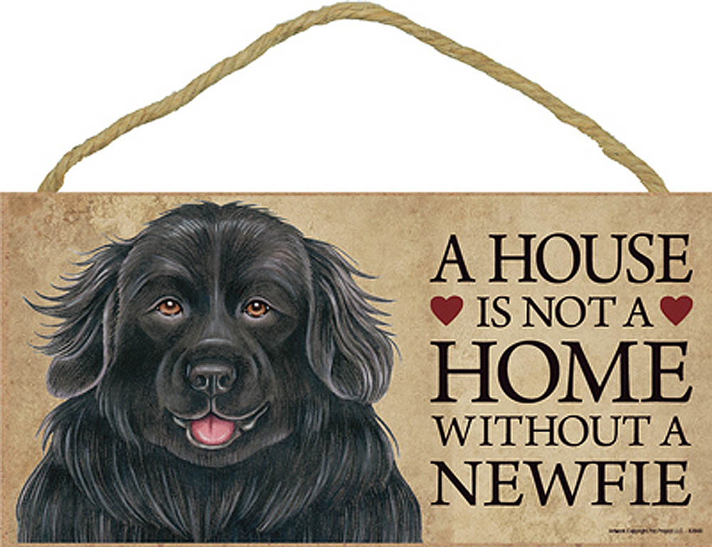 Newfoundland Indoor Dog Breed Sign Plaque - A House Is Not A Home + Bonus Coaster