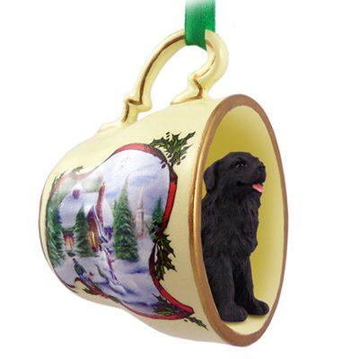 Newfoundland Dog Christmas Holiday Teacup Ornament Figurine