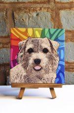 Norfolk Terrier Colorful Portrait Original Artwork on Ceramic Tile 4x4 Inches