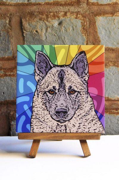 Norwegian Elkhound Colorful Portrait Original Artwork on Ceramic Tile 4x4 Inches