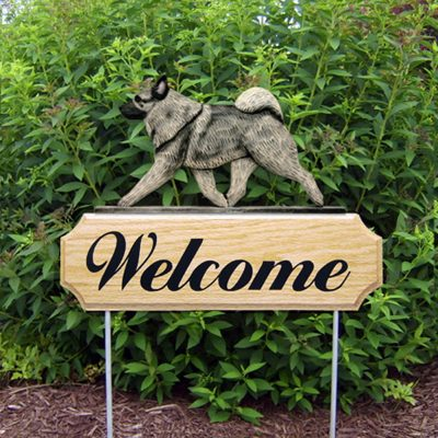 Norwegian Elkhound Outdoor Welcome Garden Sign