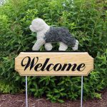Old English Sheepdog Outdoor Welcome Garden Sign White & Gray in Color