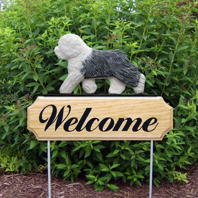 Old English Sheepdog Outdoor Welcome Garden Sign White & Gray in Color