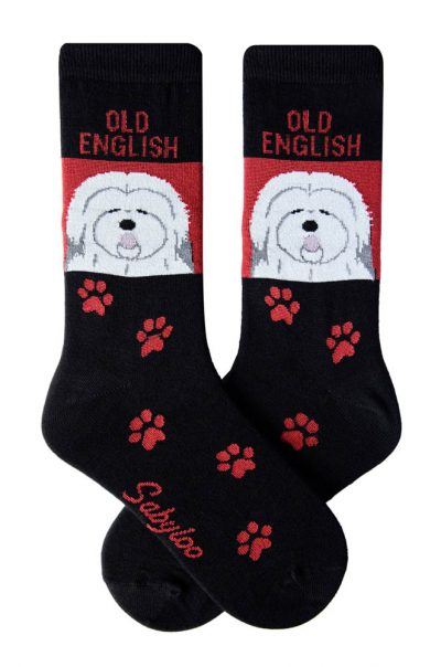 Old English Sheepdog Socks - Red and Black in Color