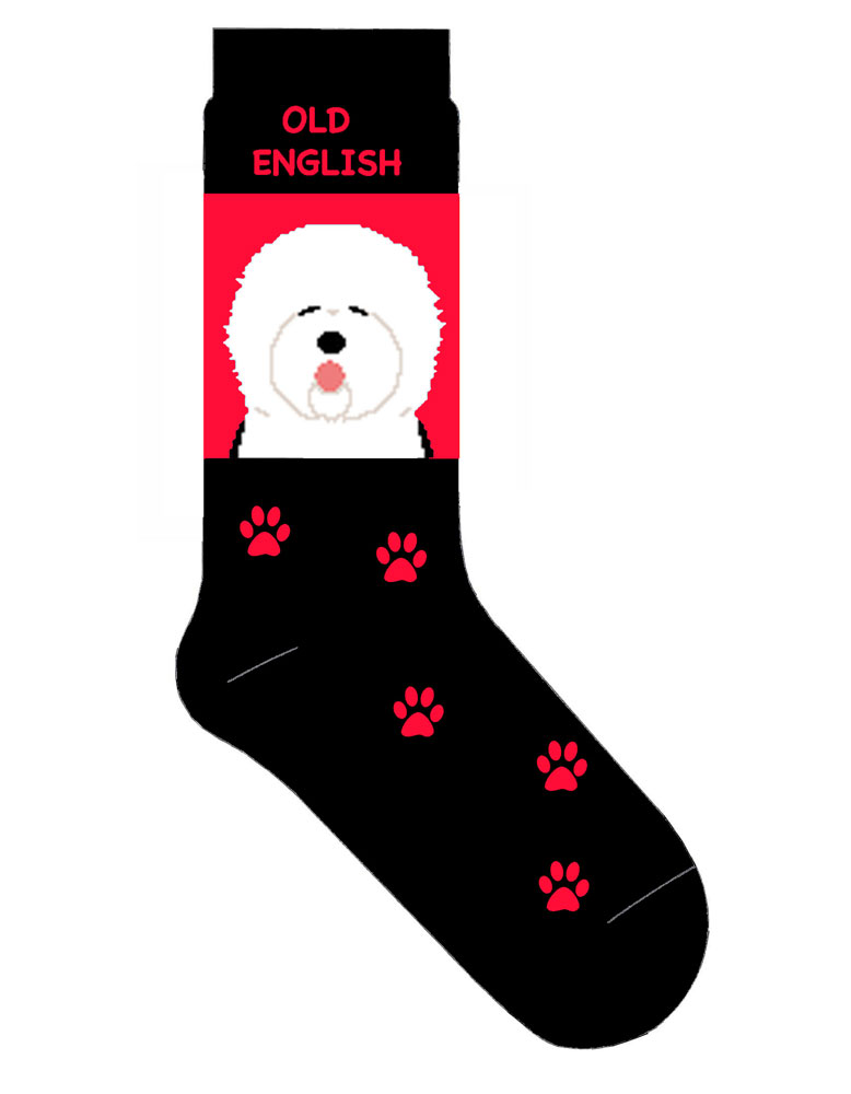Old English Sheepdog Socks Red