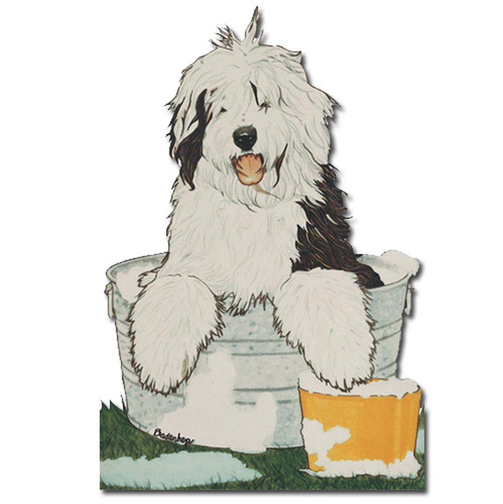 Old English Sheepdog Wooden Magnet