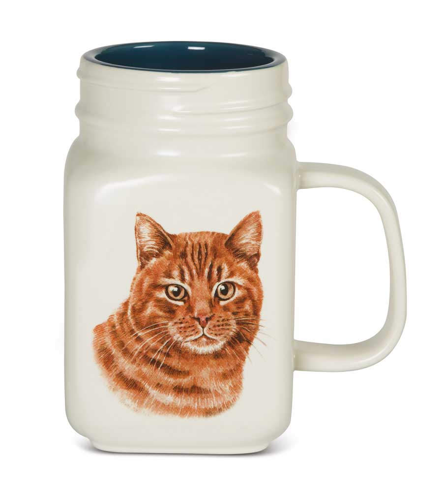 Orange Cat 21 Oz. Ceramic Mug Mason Jar - All You Need Is Love