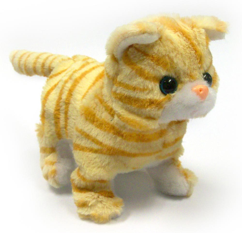 Orange Striped Cat Lifelike Stuffed Animal Toy