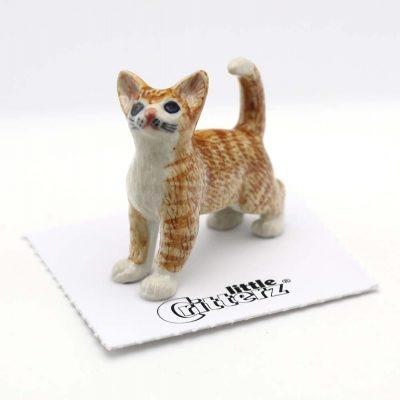 Oranger Tiger Cat Porcelain Figurine