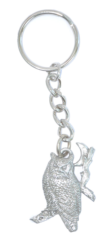 Owl Keychain Silver Pewter Key Chain Ring 1