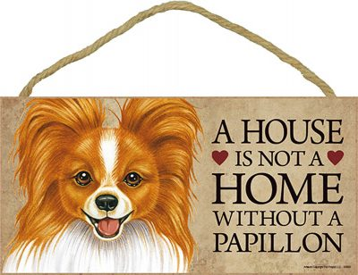 Papillon Wood Dog Sign Wall Plaque 5 x 10 + Bonus Coaster 1