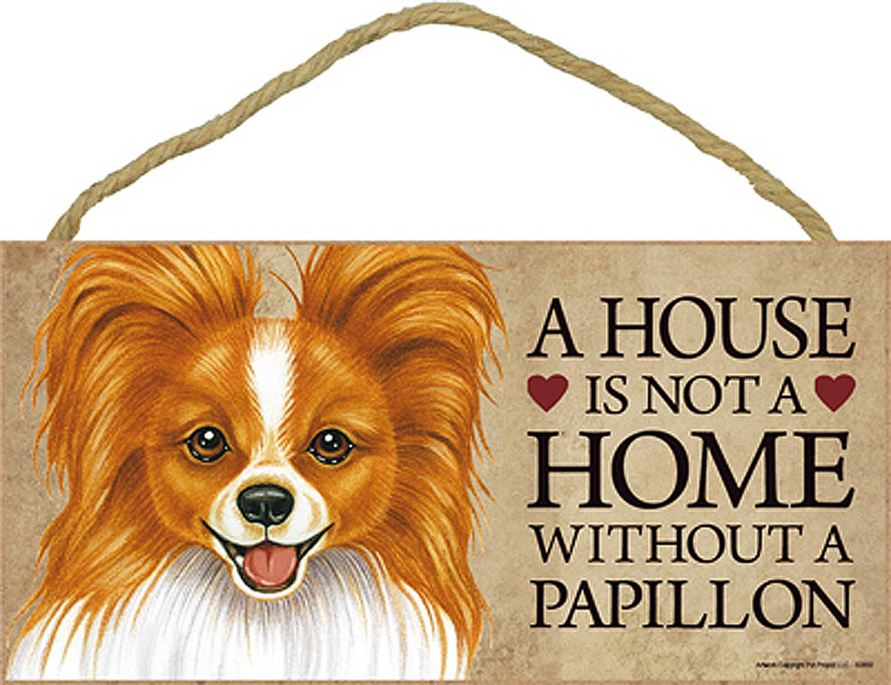 Papillon Wood Dog Sign Wall Plaque 5 x 10 + Bonus Coaster
