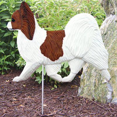 Papillon Garden Stake Outdoor Sign Brown & White