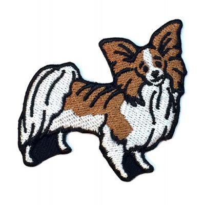 Papillon Iron on Embroidered Patch Brown