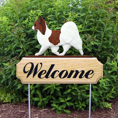 Papillon Outdoor Welcome Garden Sign Brown & White in Color