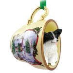 Papillon Dog Christmas Holiday Teacup Ornament Figurine Black/White
