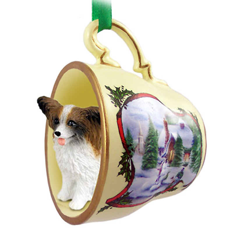 Papillon Dog Christmas Holiday Teacup Ornament Figurine Brown/White