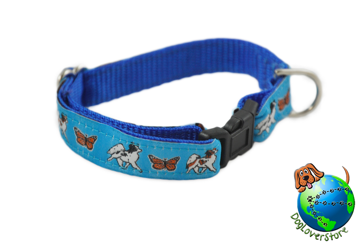 "Papillon Dog Breed Adjustable Nylon Collar Small 7-11"" Blue"