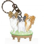Papillon Wooden Dog Breed Keychain Key Ring 1