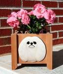Pekingese Planter Flower Pot White