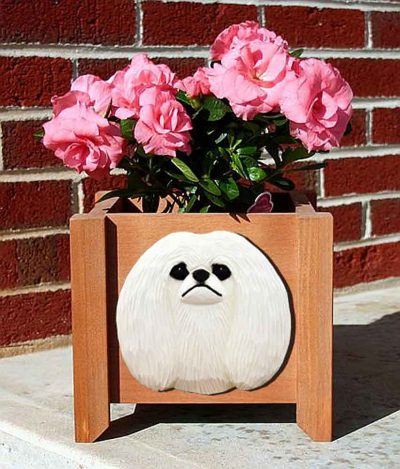 Pekingese Planter Flower Pot White 1