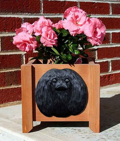 Pekingese Planter Flower Pot Black 1