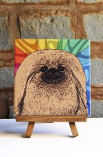 Pekingese Colorful Portrait Original Artwork on Ceramic Tile 4x4 Inches