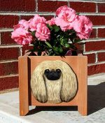 Pekingese Planter Flower Pot Fawn