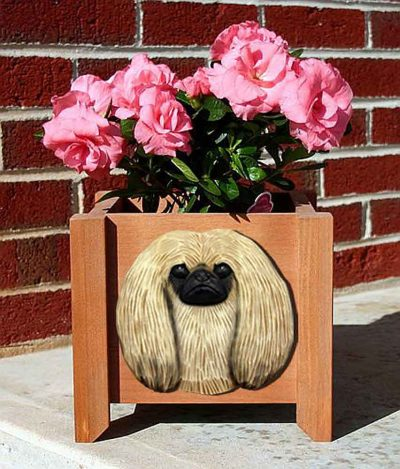 Pekingese Planter Flower Pot Fawn 1