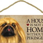 Pekingese Wood Dog Sign Wall Plaque 5 x 10 + Bonus Coaster 1