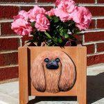 Pekingese Planter Flower Pot Red 1
