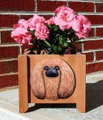 Pekingese Planter Flower Pot Red