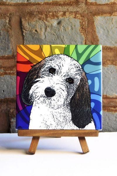 Petit Basset Griffon Vendeen Colorful Portrait Original Artwork on Ceramic Tile 4x4 Inches