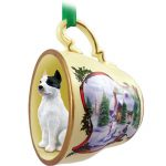 Pit Bull Terrier Dog Christmas Holiday Teacup Ornament Figurine White