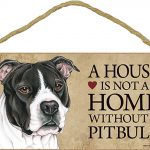 Pitbull Indoor Dog Breed Sign Plaque – A House Is Not A Home Blk Uncropped + Bonus Coaster 1