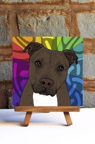 Pitbull Brindle Uncropped Colorful Portrait Original Artwork on Ceramic Tile 4x4 Inches