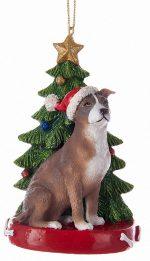 Pitbull Christmas Tree Ornament Brown